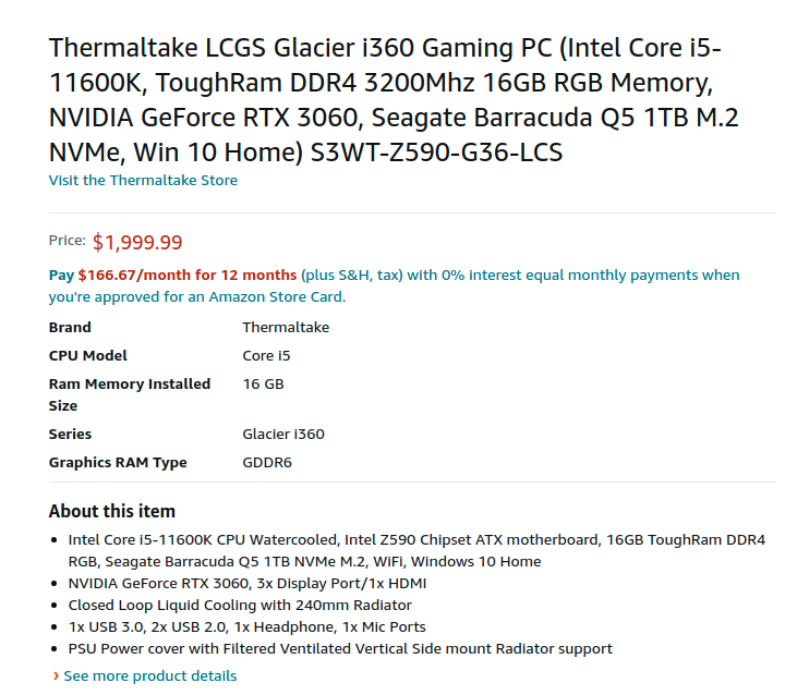 Thermaltake LCGS S3WT Z590 G36 LCS