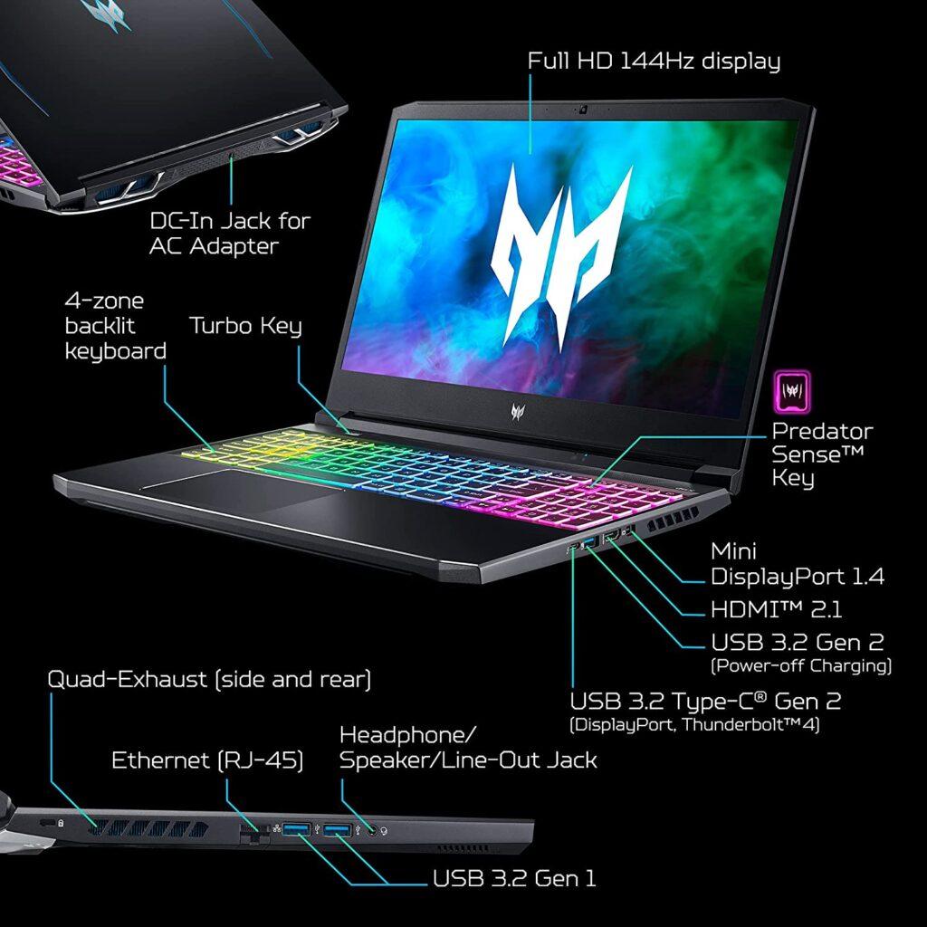 Acer Predator Helios 300 PH315 54 760S Ports