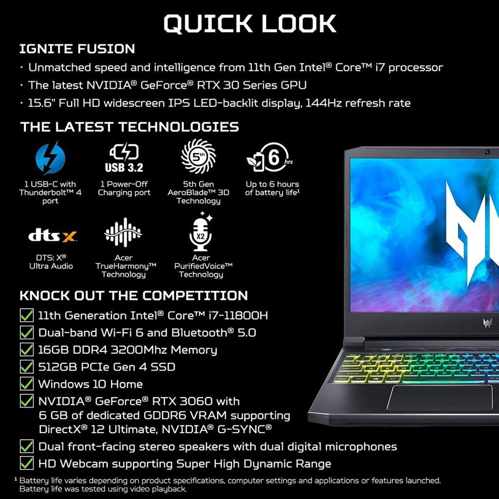 Acer Predator Helios 300 PH315 54 760S Specs