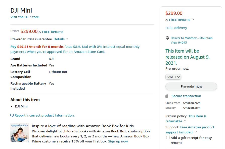 DJI Mini SE Amazon US