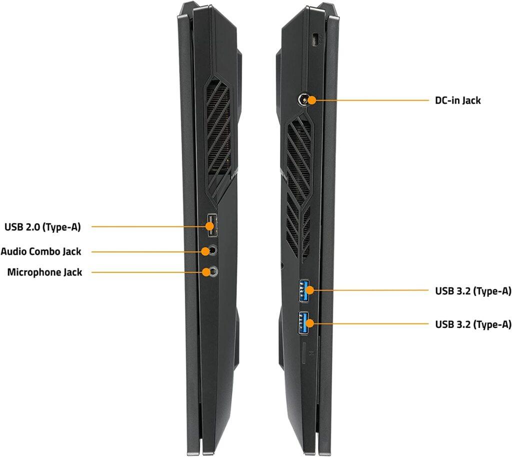 Gigabyte A7 X1 CUS1130SH ports sides