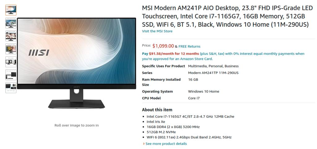 MSI Modern AM241P 11M 290US