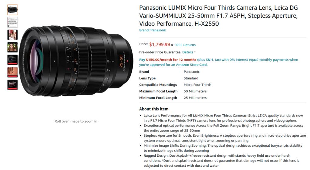 Panasonic H X2550 Leica DG 25 50mm Amazon US