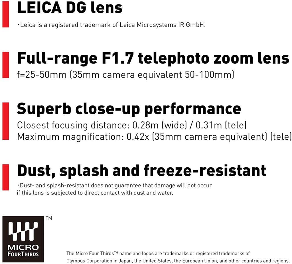 Panasonic H X2550 Leica DG 25 50mm specs