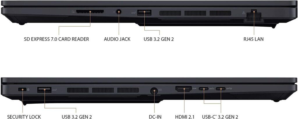 ASUS ProArt StudioBook Pro 16 OLED W5600Q2A XB94 ports