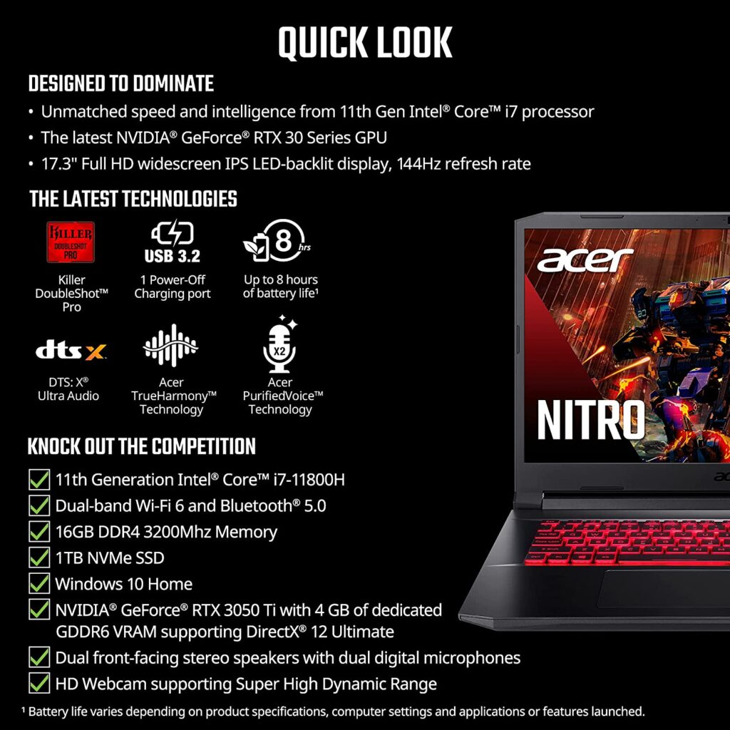 Acer Nitro 5 AN517 54 79L1 Specification