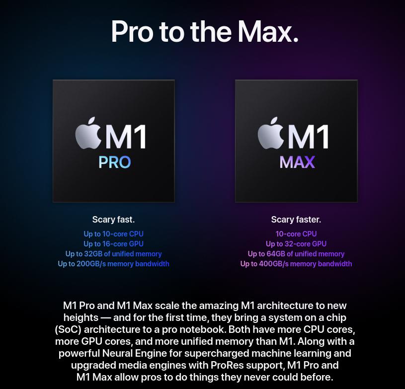Apple M1 Max Pro Chip Specs