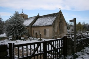 A snow covered Bouthrop Church - Eastleach Village