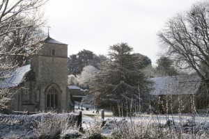 Bouthrop Church & the Arkell's barn in the snw - Eastleach Village
