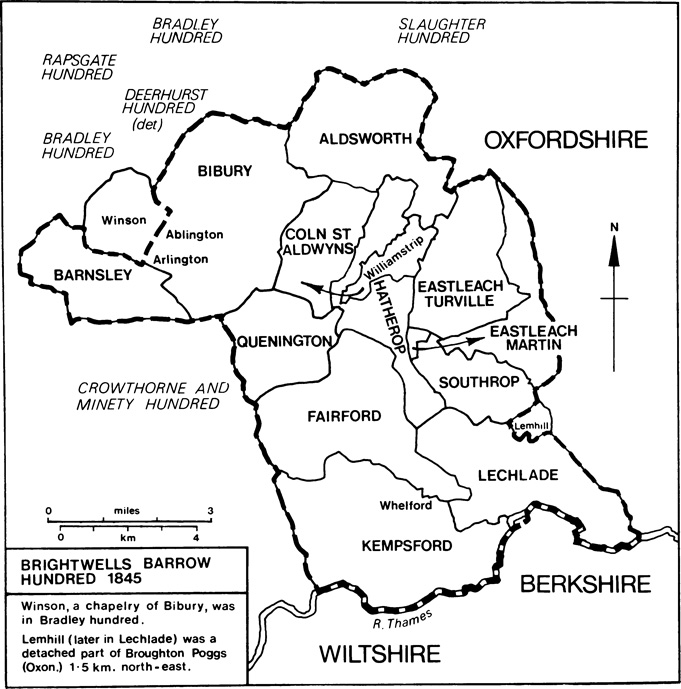 Brightwells Barrow hundred comprised Coln St. Aldwyns, Williamstrip, Eastleach Turville, Fairford, Hatherop, Kempsford, Lechlade, Quenington, and Southrop