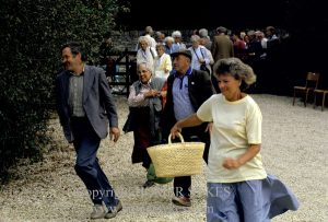 THERE IS ALWAYS A MAD DASH AS THE EASTLEACH VILLAGE FETE GATES OPEN