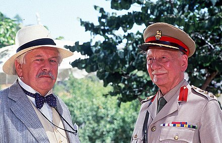 Ustinov (left) as Hercule Poirot with John Gielgud in Appointment with Death (1988)