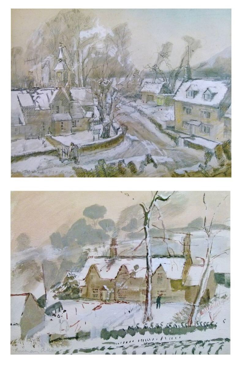 Rosemary Allan (1911-2009) - Two watercolour and pencil - Eastleach, Gloucestershire, one signed anddated 1970,