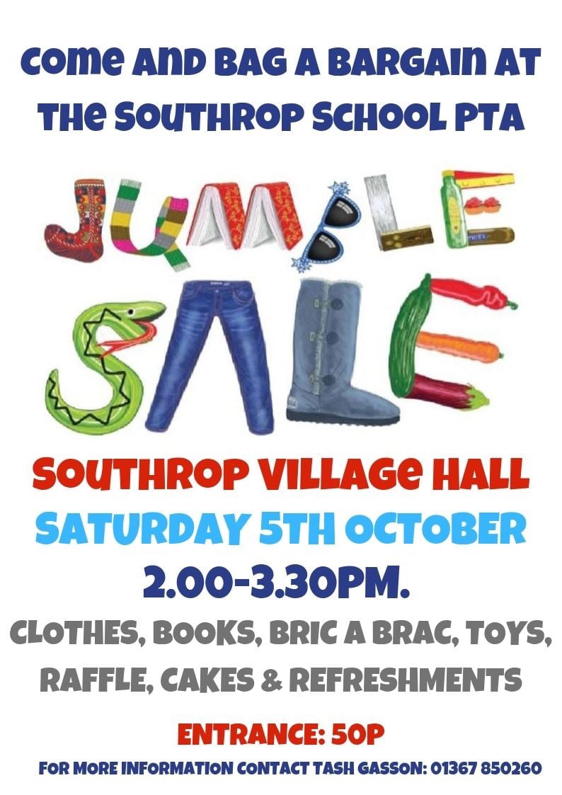 Having a clear-out? We'd love to have any unwanted household items for the Southrop School PTA jumble sale!