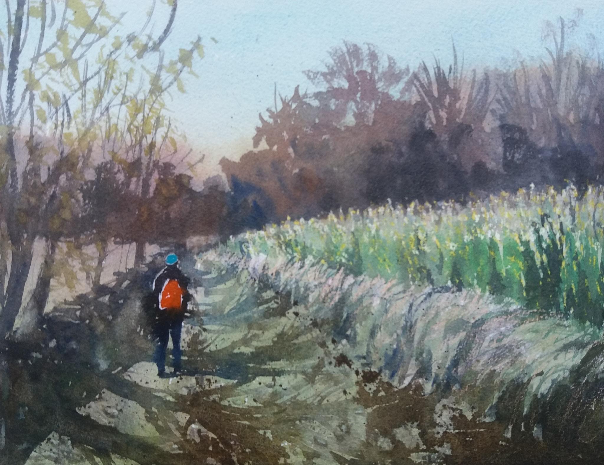 Autumn trail. Eastleach, England. Watercolour on W&N paper. 23 x 31 cm