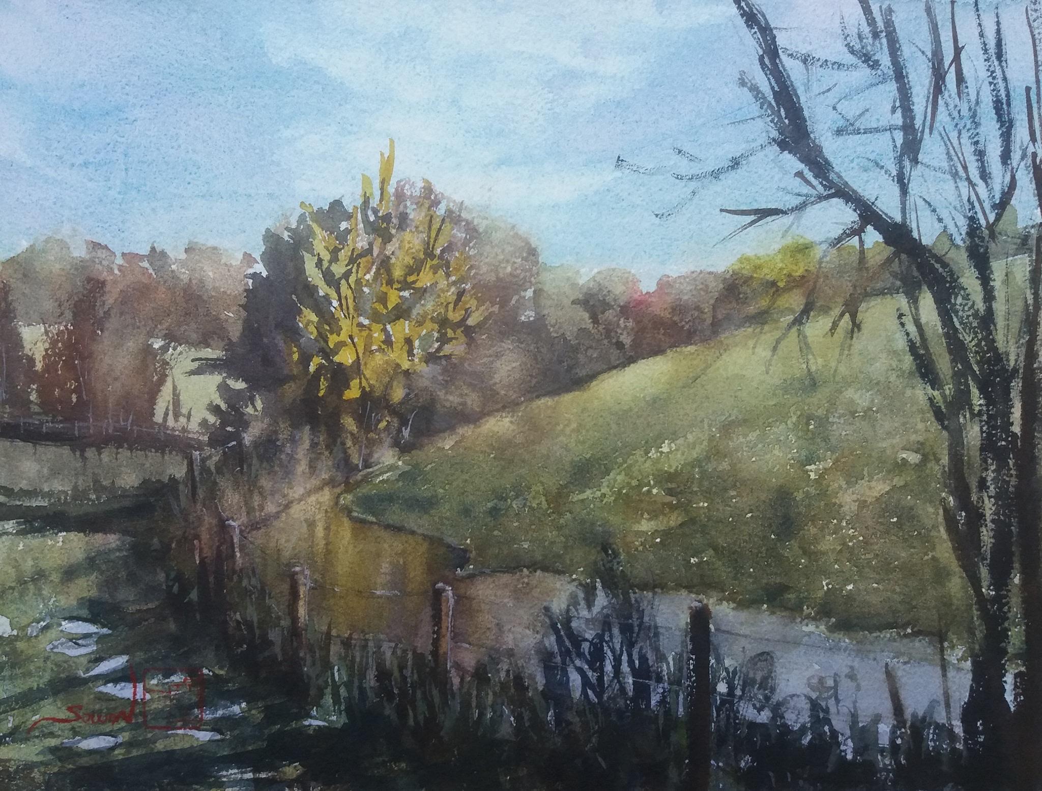 Riverside walk, Eastleach, England. Watercolour on W&N paper. 23 x 31 cm