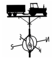 Weather Vane - The tractor, trailer & treble clef wind vane was erected to celebrate a special birthday of Quenington farmer, Tim Morris.