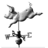 This humorous wind vane shows that pigs really can fly! It is another Quenington one, at Coneygar Barn.