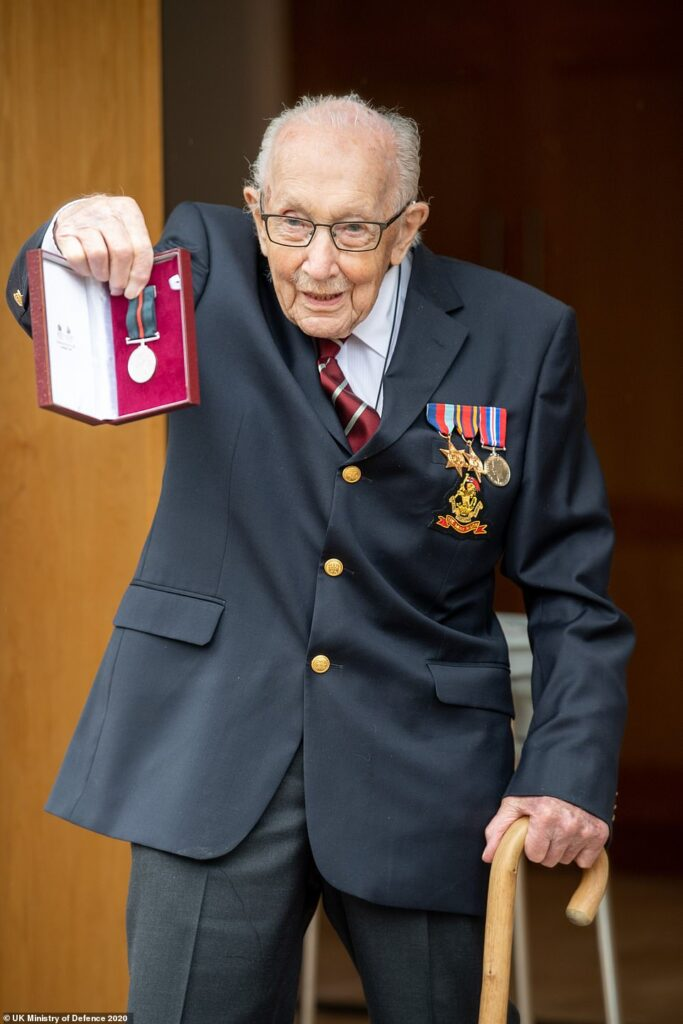 Happy Birthday COLONEL Tom! Queen promotes Captain Tom Moore in heartwarming honour as the £29m NHS fundraising hero turns 100 today