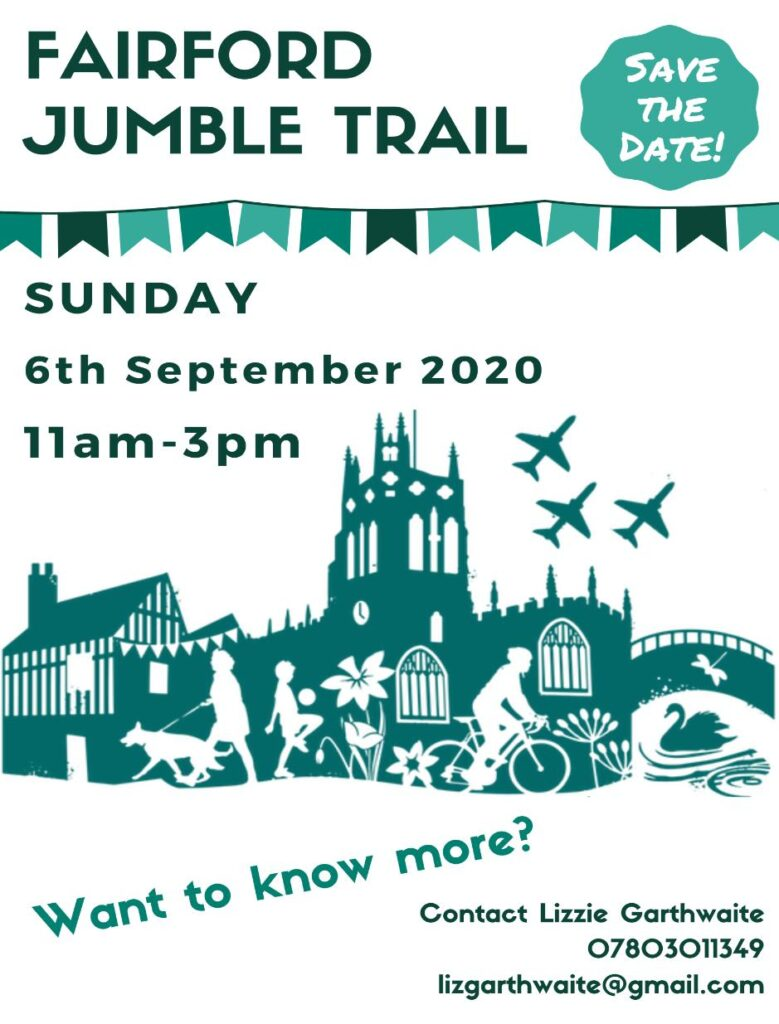 FAIRFORD JUMBLE TRAIL Sunday, 6th September 11am-3pm As events such as jumble sales and car boot sales are difficult to operate in a COVID-safe way, some villages and towns have experimented with holding a Jumble Trail - various different households in a location offer items for sale on their own premises - driveways or front gardens etc. This was done successfully in Lechlade recently, so people in Fairford thought it would be good to try too. There will be a map of locations, so keep a look out on the dedicated Fairford Jumble Trail Facebook page: