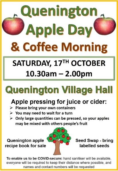 The Quenington Apple Day recipe book, compiled from locally donated recipes, will be on sale - suggested donation £2. Proceeds towards funding the hire of the apple press.