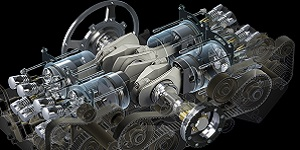 3D rendering of an engine. 16x9 image ratio. Image shows a cutaway view of an engine with selected components made transparent to reveal the interrelation of components. Model designed with Inventor and image rendered using 3ds Max.