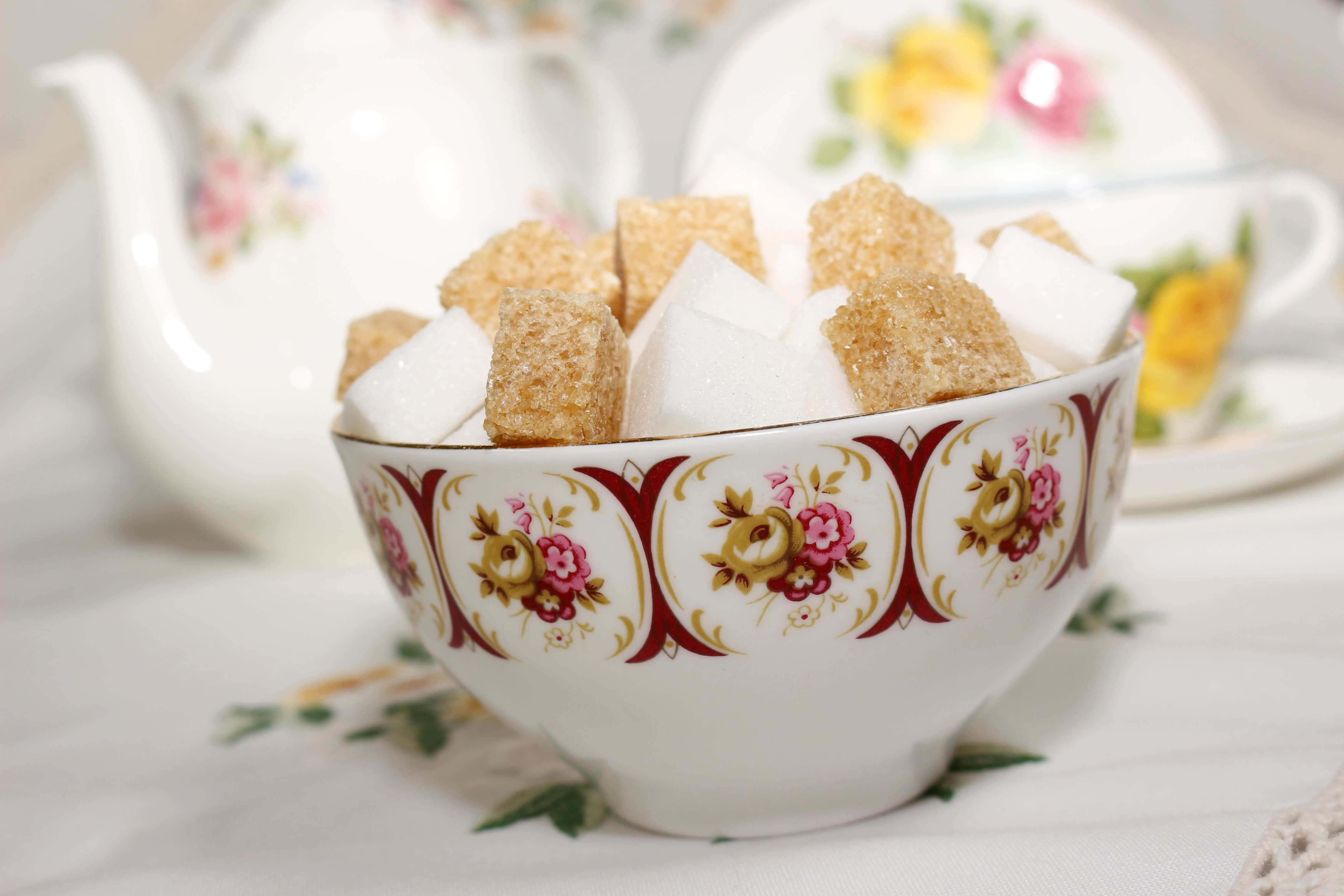 A Vintage Sugar Bowl filled with Sugar Cubes