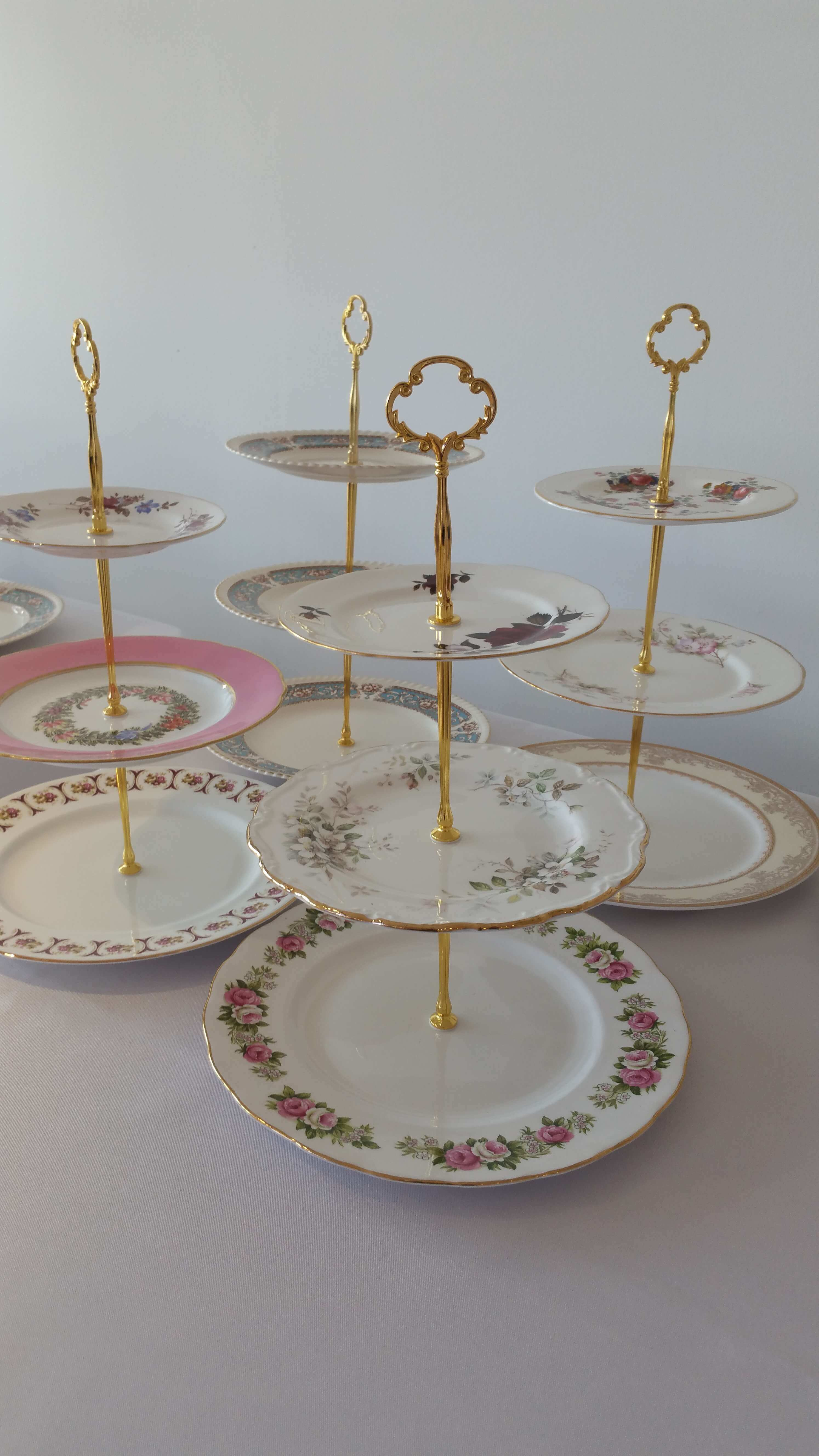 A photo showing a selection of our Vintage Cake Stands