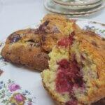 A plate with Raspberry and White Chocolate Scones
