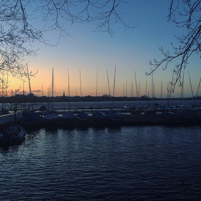 sunset in Hamburg, Germany