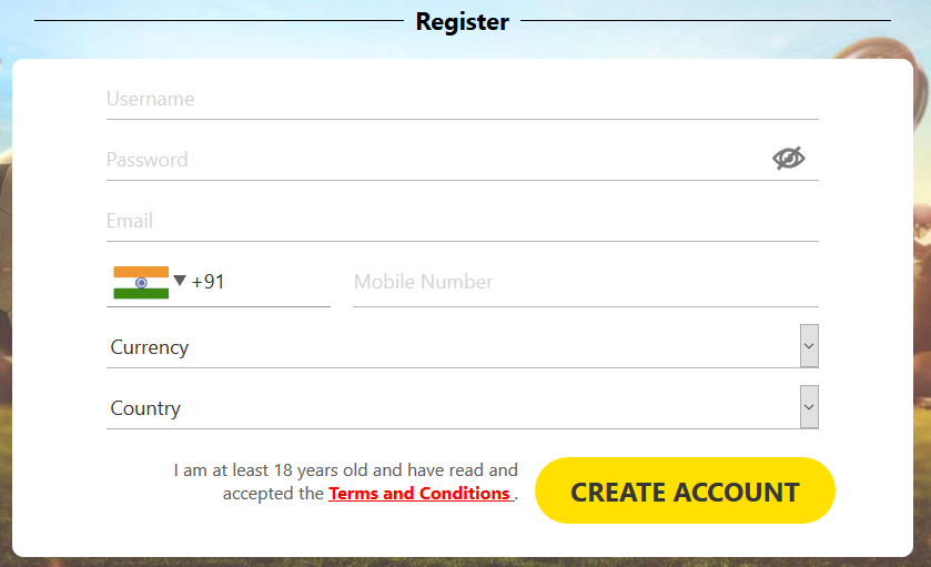 A typical Online Casino Registration Form