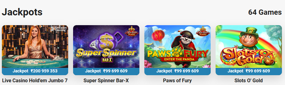 Leovegas selection of Jackpot Games