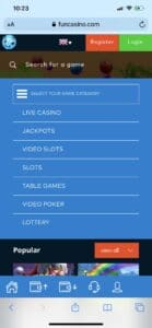 Fun Casino Mobile Categories