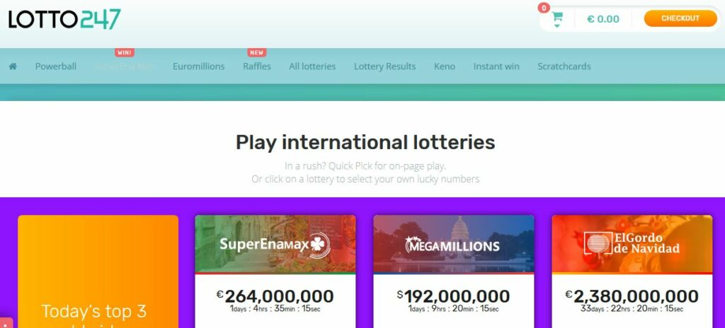 Lotto247 Website Layout