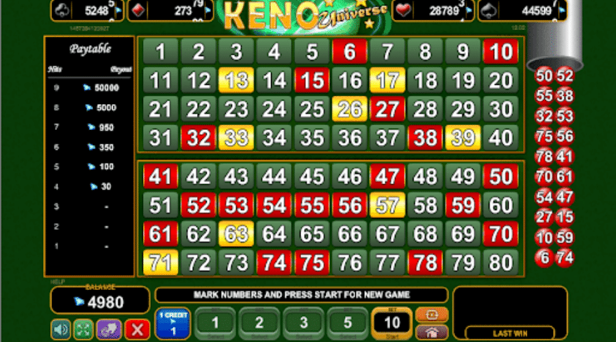 A typical Keno screen that you might see when playing online.