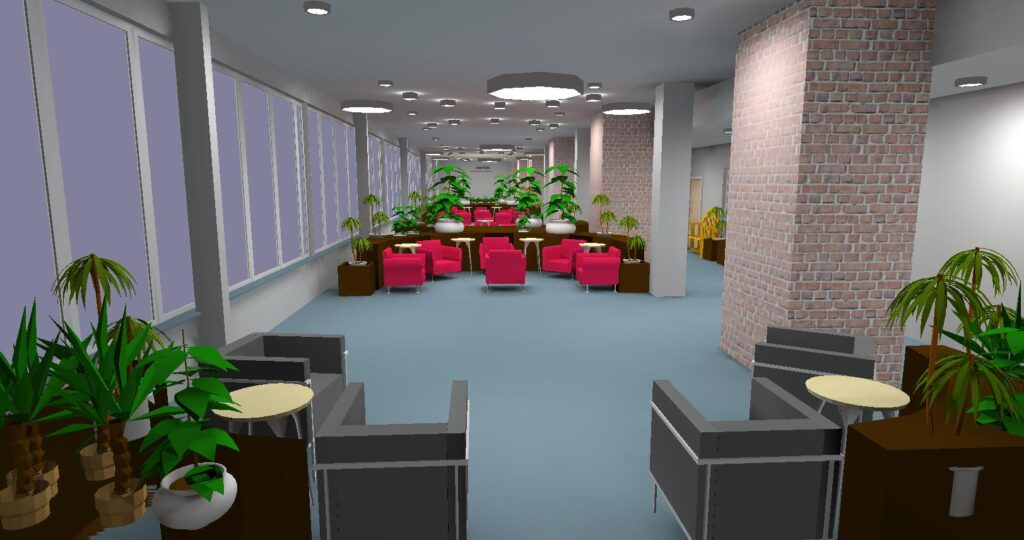 Relux 3D view of a care home atrium in true colour