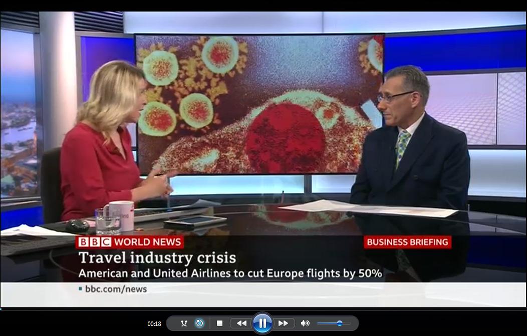 David Tarsh discusses the coronavirus outbreak on BBC World News for ForwardKeys