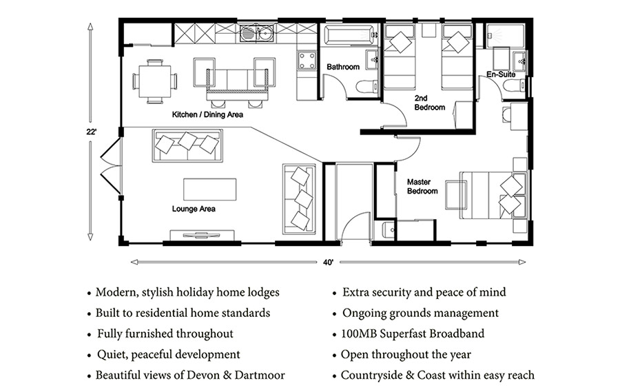 Webland Country Lodges - Meadow Floorplan