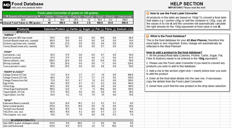 marc dressen meal planner and calorie calculator food database