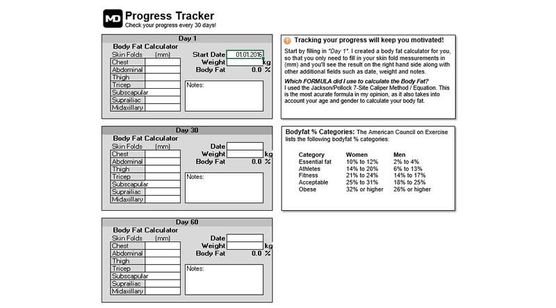 Marc Dressen Meal Planner And Calorie Calculator Progress Tracker