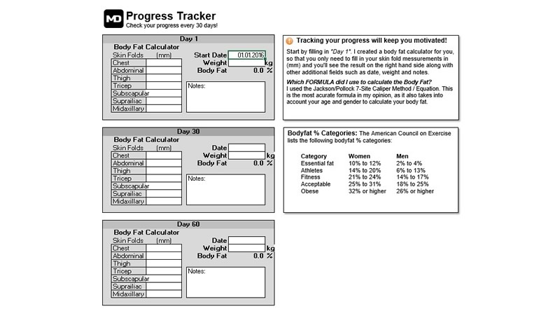 Marc Dressen Meal Planner And Calorie Calculator Progress Tracker