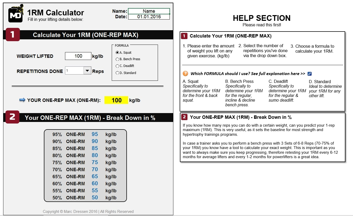 Marc Dressen's One-Rep MAX Calculator 2.0