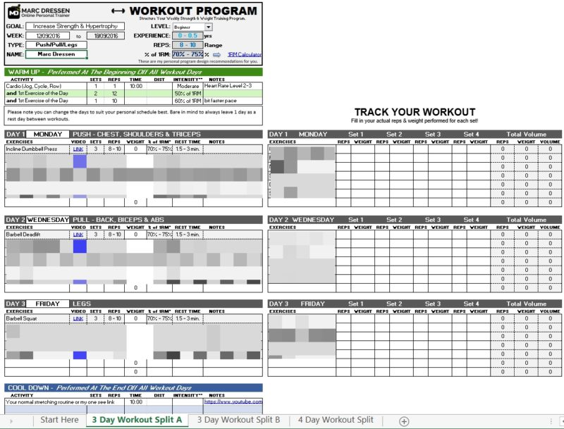 Marc Dressen's Workout Planner 2.1 (Updated)