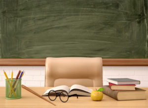 The teacher's desk in front of a green board