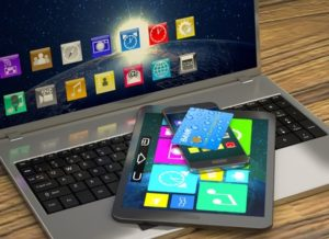 Laptop, tablet, and smart phone with various apps