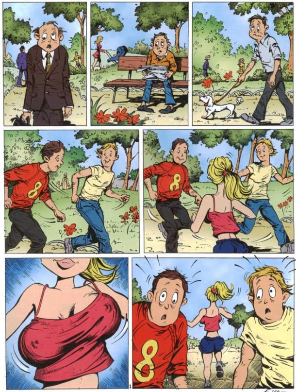 Біжить дівчина з великими грудьми. Щось трапилось з очима. Повз чоловіків пробігає дівчина з великим бюстом і в чоловіків розбігаються очі.