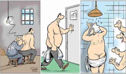 Прикол Наколка у в'язниці. В'язневі зробили на спині наколку у формі жіночого тіла. Коли він мився в душі, інші в'язні з жагою на це дивляться