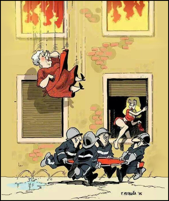 """Смішний малюнок про пожежників. Наш девіз - рятувати людей! Пожежа. Пожежники розгорнули брезент, щоб впіймати жінку, яка вицибнула з вікна. Але тут з вікна першого поверхувилазить вродлива дівчина. Вогнеборці з брезентом побігли """"рятувати"""" її"""