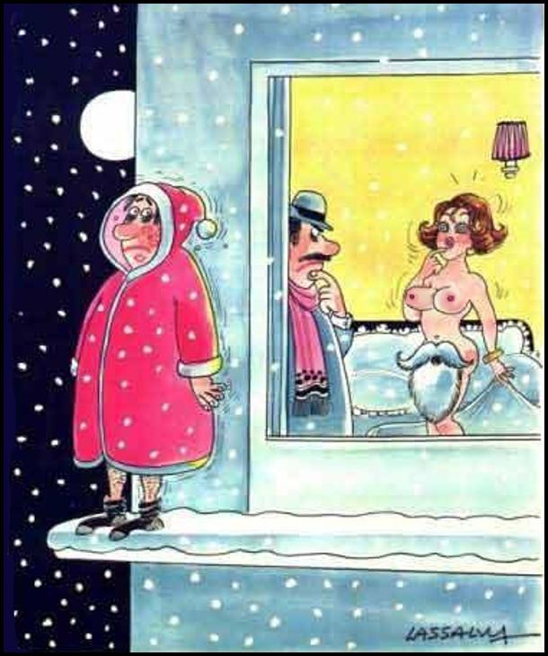 Чоловік раніше прийшов додому, а дружина гола, тільки замість трусів борода і вуса Санта-Клауса (а сам він зачаївся за вікном)