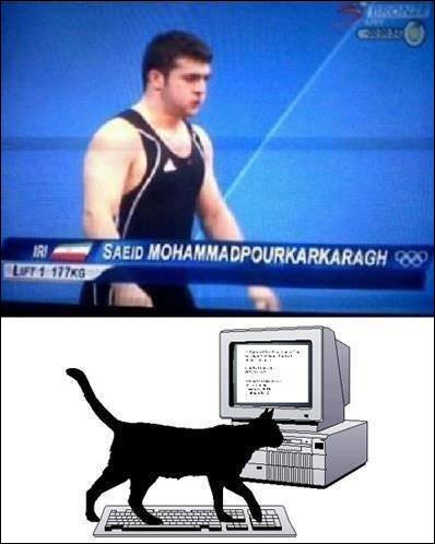 На олімпійських іграх представник з дуже довгим прізвищем Saeid Mohammsdpourkarkaragh - неначе кіт пройшовся по клавіатурі